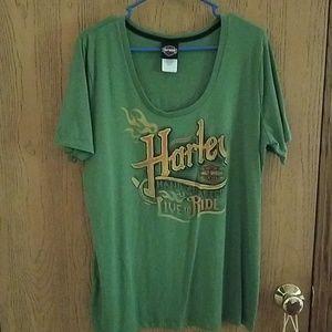 Harley Davidson Womens 1X Olive Green T Shirt